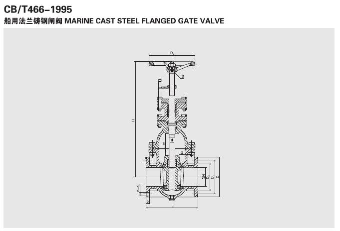 船用法兰铸钢闸阀 CB466-05